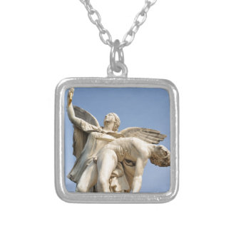 Architectural detail of statue in Berlin, Germany Silver Plated Necklace
