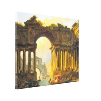 Architectural Landscape with Canal Wrapped Canvas