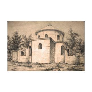 Architecture ancient christian church pencil art canvas print