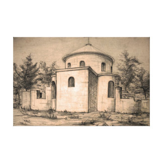 Architecture ancient christian church pencil art stretched canvas print