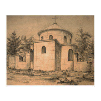 Architecture ancient church pencil art Wood canvas