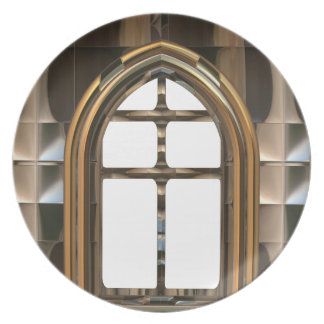 Architecture. Exotic Gothic Windows Doorway Party Plates