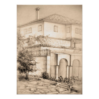 Architecture traditional house pencil art Poster