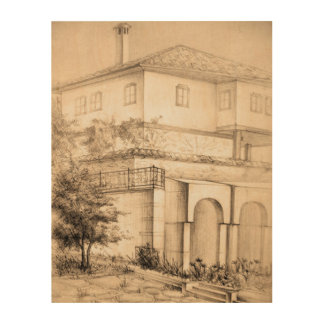 Architecture traditional house pencil Wood canvas