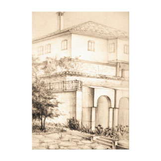 Architecture traditional old house pencil art canvas print