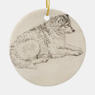 Arctic Dog, Facing Right (pencil on paper) Christmas Ornament