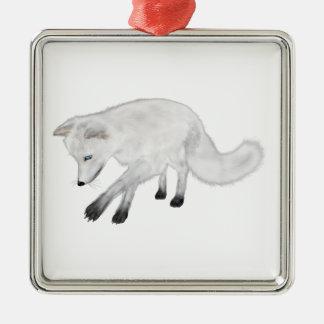 Arctic Fox Hunting Christmas Ornament