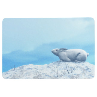 Arctic hare, lepus arcticus, or polar rabbit floor mat