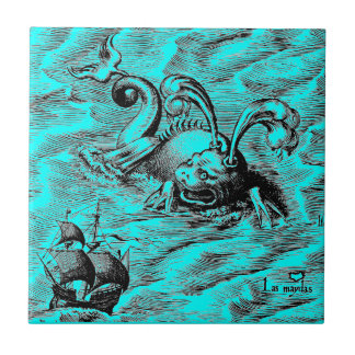 Arctic Sea Monster and Sailing Ship Small Square Tile