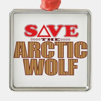 Arctic Wolf Save Christmas Ornament