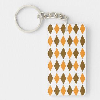 [ARG-BRO-1] Brown and orange retro argyle Double-Sided Rectangular Acrylic Key Ring