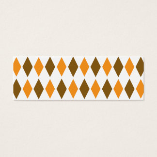 [ARG-BRO-1] Brown and orange retro argyle Mini Business Card