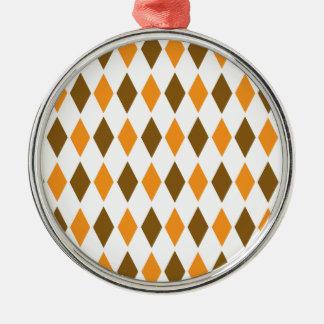 [ARG-BRO-1] Brown and orange retro argyle Silver-Colored Round Decoration