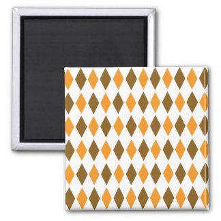 [ARG-BRO-1] Brown and orange retro argyle Square Magnet
