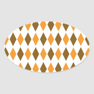 [ARG-BRO-1] Brown and orange retro argyle Oval Sticker