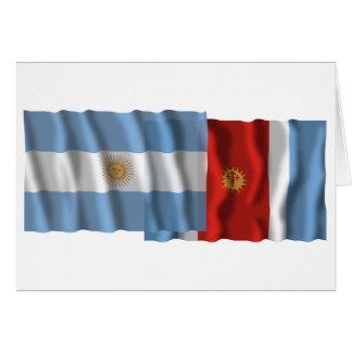 Argentina & Santiago del Estero waving flags Card