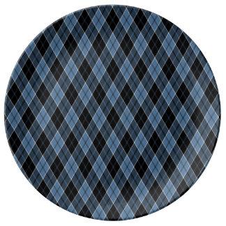 Argyle Blue Black White Stripes Diamond pattern Porcelain Plate
