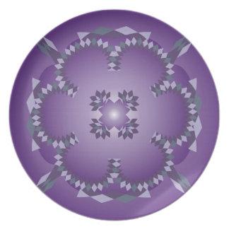Argyle Design on-Purple Background Dinner Plate