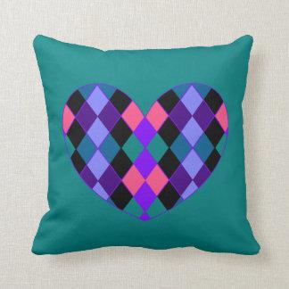 Argyle heart throw pillows