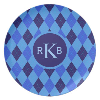 Argyle pattern blue custom personalized initials plate