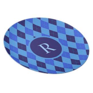 Argyle pattern blue custom personalized monogram plate