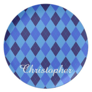 Argyle pattern blue custom personalized name plate