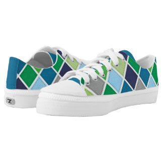 Argyle Pattern - Blues and Greens Low Tops