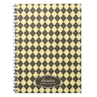 Argyle Pattern Custom Notebook (chocolate/yellow)
