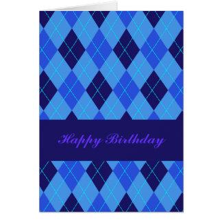 Argyle pattern in blue shades birthday card