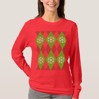 Argyle Snow Flakes Christmas T-Shirt