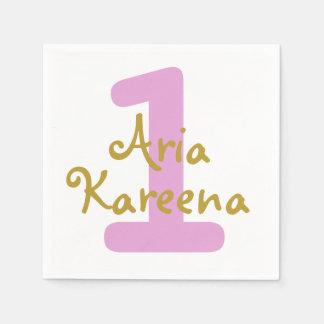 Aria Kareena Birthday Cocktail Napkin Beige Pink Paper Serviettes