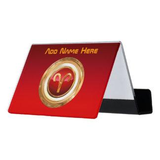 Aries Astrological Sign Desk Business Card Holder