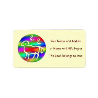 Aries Ram Star Sign Rainbow Name Tag Gift Tag