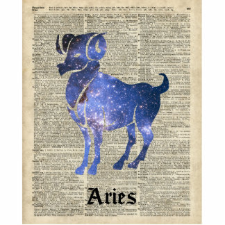ARIES Ram Zodiac Sign Over Dictionary Page Standing Photo Sculpture
