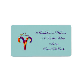 Aries Zodiac Sign-Colorful Label