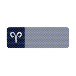 Aries Zodiac Sign on Navy Blue Carbon Fiber Print