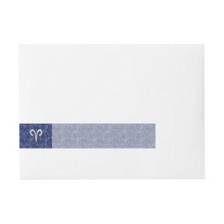 Aries Zodiac Sign on Navy Blue Digital Camo Wraparound Address Label