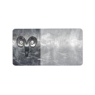 Aries Zodiac Symbol in Silver Steel Style Label