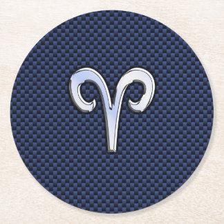 Aries Zodiac Symbol Navy Blue Carbon Fiber Style Round Paper Coaster