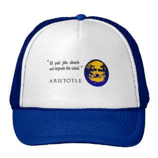 Aristotle paid jobs degrade the mind baseball cap mesh hat
