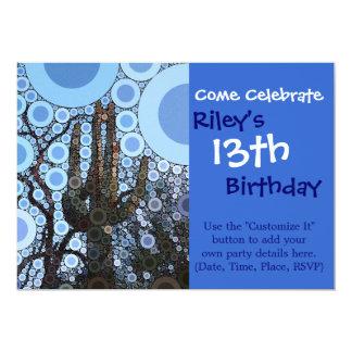 Arizona Saguaro Cactus Concentric Circle Mosaic 13 Cm X 18 Cm Invitation Card