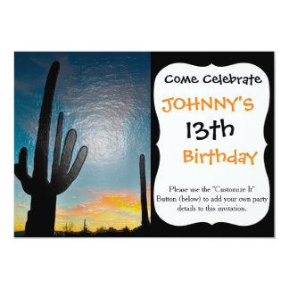 Arizona Saguaro Cactus  Sunset Plastic 3d Art 13 Cm X 18 Cm Invitation Card