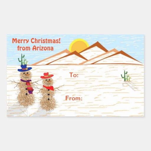 Arizona Tumbleweed Snowman Christmas Tag Rectangle Sticker
