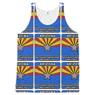 Arizona welcome sign all over print tank top