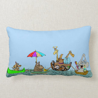 Ark with Funny Animals on Throw Pillow