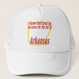 Arkansas - God Loves Me Trucker Hat