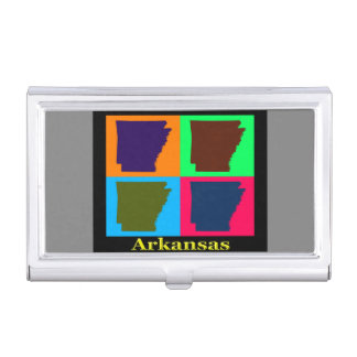Arkansas Map Silhouette Colorful Pop Art Case For Business Cards