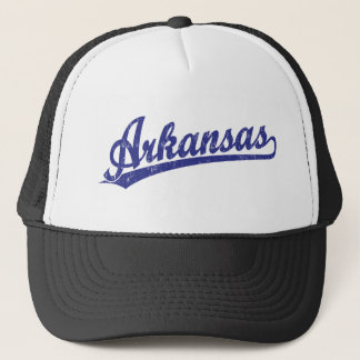 Arkansas script logo in blue trucker hat