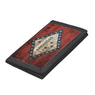 Arkansas State Flag on Old Wood Grain Trifold Wallet