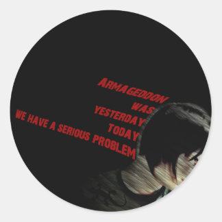 armageddon classic round sticker